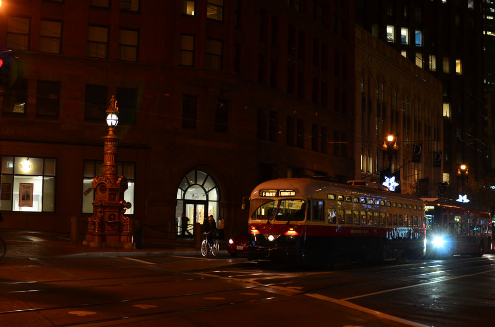 Classic streetcar on Market Street in San Francisco as we get the YC email.